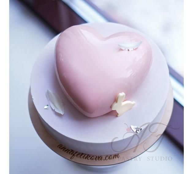 Форма силиконовая для торта Tiamo (Сердце)+вырубка, 170х164х63 мм