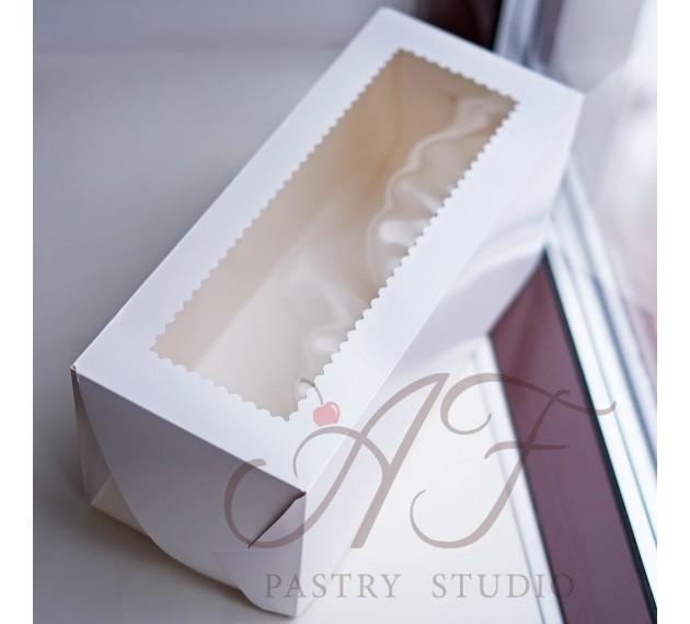 """Коробка для торта """"Полено"""" с прозрачным окном, белая, 35х15х15 см"""