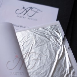 Пищевое серебро листовое, 90х90 мм