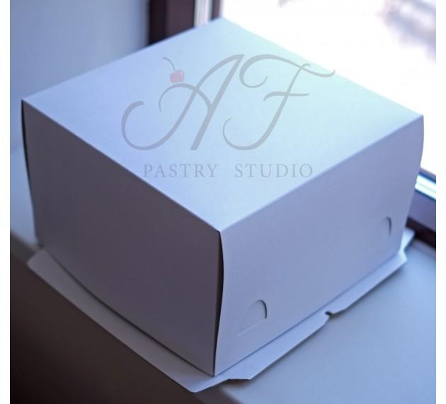 Коробка для торта и пирожных, белая, 30х30х19 см