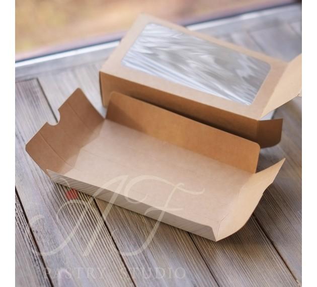 Коробка крафтовая с окном, 18x10,5x5,5 см
