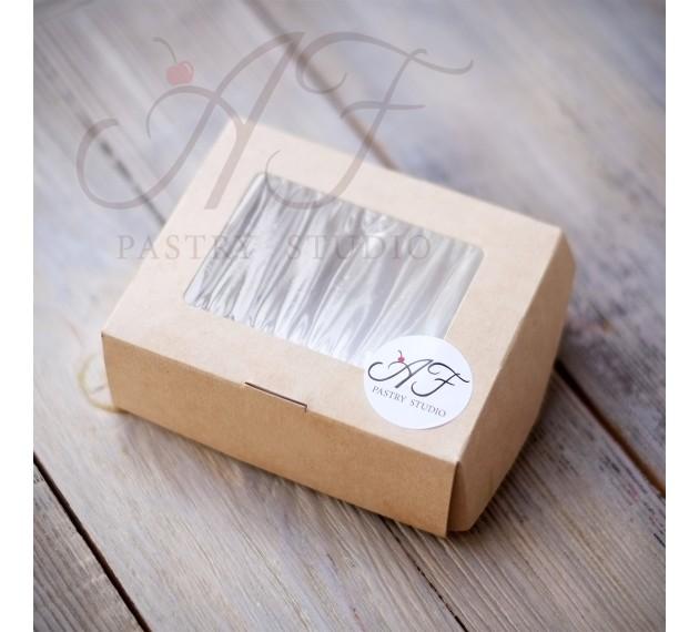 Коробка крафтовая  с окном, 10x8x3,5 см