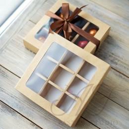 Коробка на 9 конфет с окном, крафт, 14,5х14,5х3,3 см