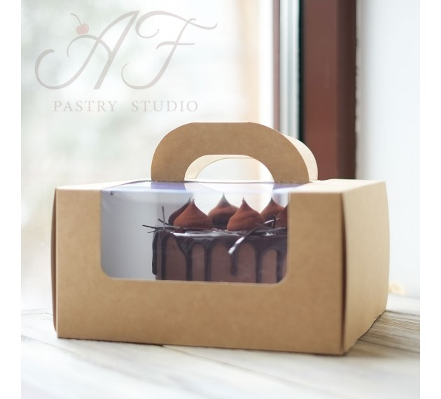 Коробка для торта с прозрачным окном, крафтовая,  23х23х12 см