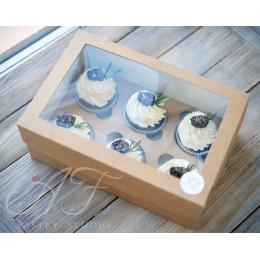 Коробка для капкейков с окном на 6 шт. крафтовая, 25х17х10 см