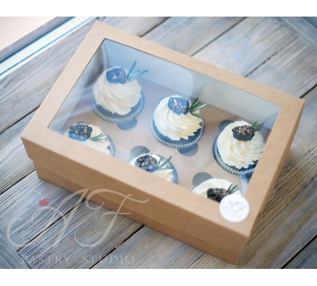 Коробка для капкейков с окном на 6 шт. крафтовая, 25х17х10см