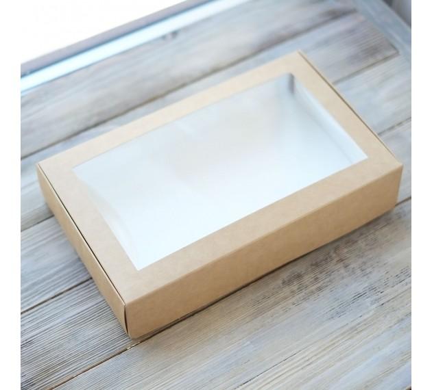 Коробка крафтовая с окном, 25x15x5 см