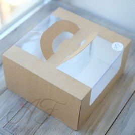 Коробка для торта с прозрачным окном, крафтовая,  22,5х22,5х12см