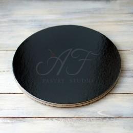Подложка для торта усиленная, ламинация черный/жемчуг, 26см х 3,2мм