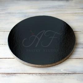 Подложка для торта усиленная, ламинация черный/жемчуг, 30см х 3,2мм