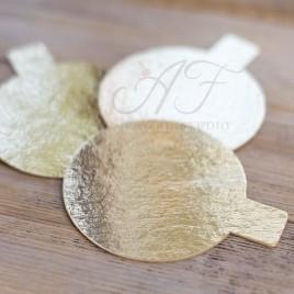 Подложка для пирожных, ламинация золото, 8см х 0,8мм, 10шт.