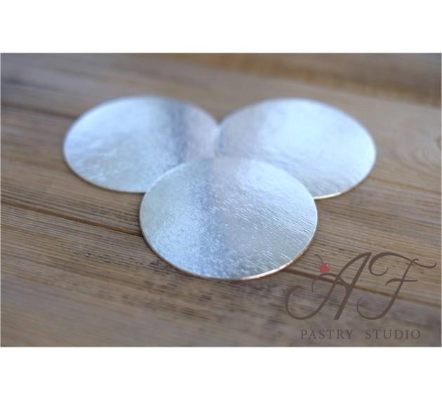 Подложка для пирожных, ламинация серебро, 8см х 0,8мм