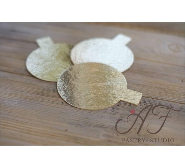 Подложка для пирожных, ламинация золото, 8см х 0,8мм