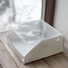 Коробка для торта с прозрачной крышкой, белая, 22,5х22,5х10см