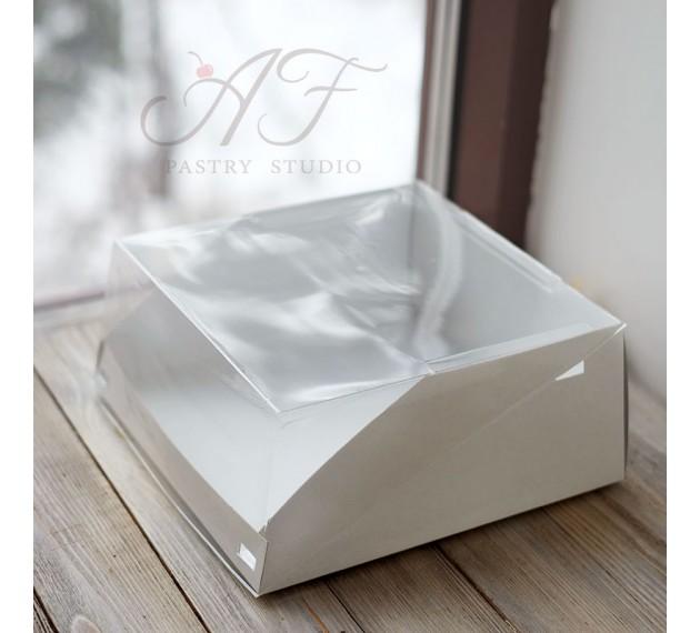 Коробка для торта с прозрачной крышкой, белая, 22,5х22,5х10 см