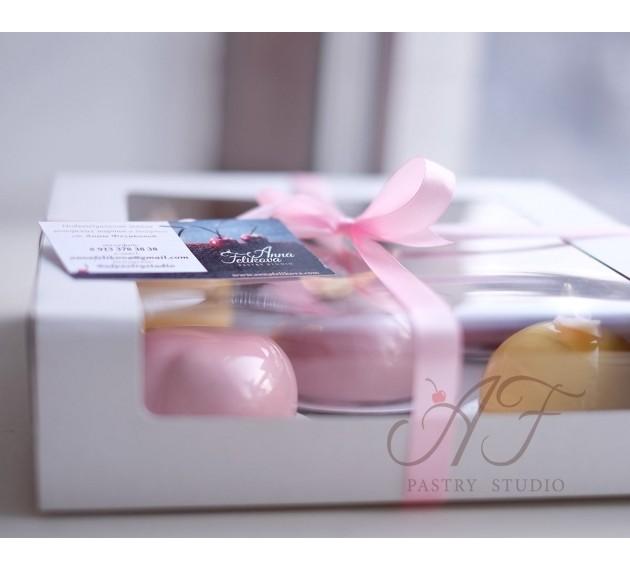Коробка для пирожных , с прозрачным окном, белая, 22,5х22,5х6 см