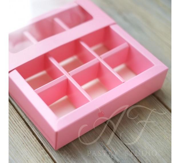 Коробка на 9 конфет с окном, розовая, 14,5х14,5х3,3 см