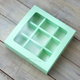 Коробка на 9 конфет с окном, мятная, 14,5х14,5х3,3 см