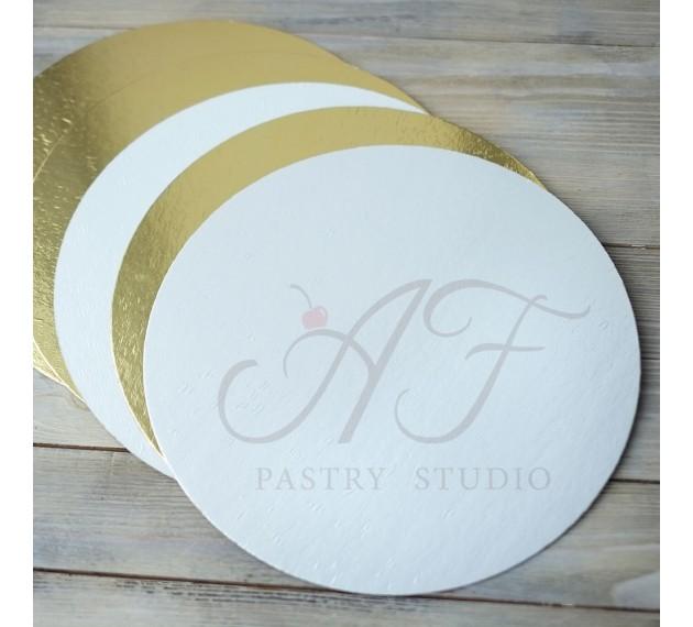 Подложка для торта, ламинация золото/жемчуг, 26см х 1,5мм